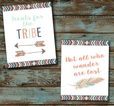 Tribe Baby Shower Party Signs, Tribal Decor, Expanding Tribe Baby Shower, Shower decorations, Boho, Boy Baby Shower, Digital File DIY