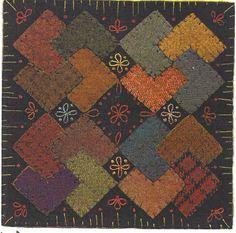 Primitive Wool Patterns Free | Primitive Folk Art Wool Applique Pattern WOOL by PrimFolkArtShop