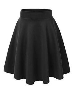 Women's Short Skirts Basic Versatile Stretchy Flared Skater Skirt - Made in USA
