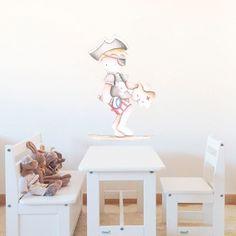Decoración infantil Il Mondo di Alex, Vinilos - Stickers efecto pintado a mano, NIÑO PIRATA II... personalizado con nombre y a medida.