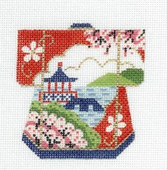 LEE Pagoda and Lake Oriental Petite Kimono handpainted HP Needlepoint Canvas