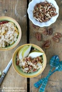 Pear Ginger Oatmeal with Candied Maple Pecans