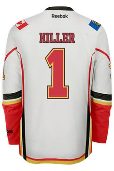 Calgary Flames Goalie Jonas HILLER #1 Official Away Reebok Premier Replica NHL Hockey Jersey (HAND SEWN CUSTOMIZATION)