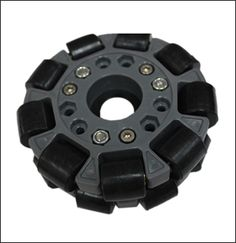http://www.microrobo.com/omni-wheels.html Omni Wheel, also known as Poly Wheel, it is similar to Mecanum wheel. Omni wheel are very unique because they are able to move in many directions and it has small discs around the wheel will roll with full force, but will also slide laterally with great ease. It is a method of creating holonomic drive. Omni wheel can either roll like a normal wheel or roll sideway using the rollers. Its rubber rollers offer great gripping.