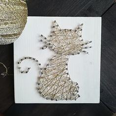 Box créative DIY chat doré fils tendus - FRAIS DE PORT INCLUS