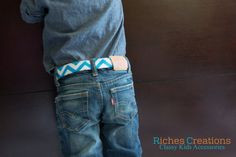 Kids Belts – Blue and White Chevron Adjustable Belt for Baby, Toddler, and Boys . Great Baby Boy Belt