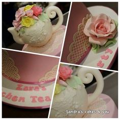 Kitchen tea cake, lace and roses