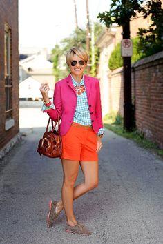 Pink jacket, Orange shorts