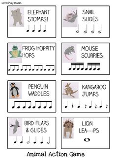This Animal Actions Rhythm Game is the perfect way to get things moving and practice listening skills at the same time. Kids always love pretending to be different animals so this is a game that'll get everyone engaged while learning to recognise their no Elementary Music Lessons, Music Lessons For Kids, Music Lesson Plans, Music For Kids, Piano Lessons, Preschool Music Activities, Music Therapy Activities, Elementary Schools, Movement Activities