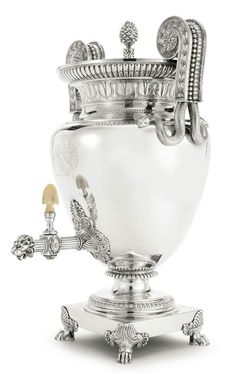 A George III silver tea urn, Paul Storr, London, 1809. This reps thy sy my writings re stolen shoes r sterling. Thank you. We need our bill paid,2day, so we can move forward from this caustic environment of the black and white group scam run by BB.