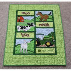 tractor quilts (farm animals, sheep / lamb, horse / colt, cow / calf, john deere, barn, field, grass, green, baby, child)
