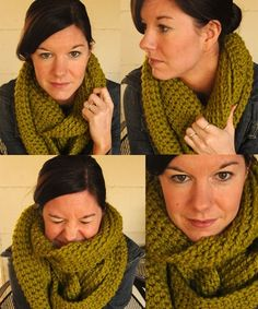 Crochet Cowl:This gem is 2 skeins of Thick & Quick in Lemongrass     Row 1: Chain 150, join with slip stitch. Try super hard not to twist your chain.  Row 2: Ch 1, sc 150  Row 3-12: Repeat Row 2. Fasten off and weave in you ends. by RuLo