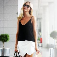 street style black and white Casual Styles, Look Fashion, Fashion Beauty, Womens Fashion, Fashion Black, Runway Fashion, Fashion Trends, Summer Outfits, Casual Outfits
