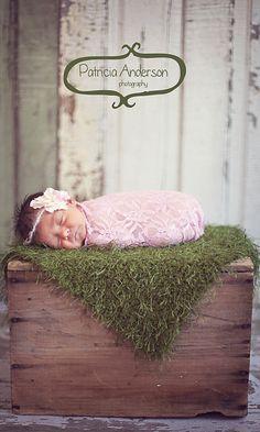 Pink Newborn Stretch Lace Wrap with Flower Halo by PetuniaandIvy, $24.00