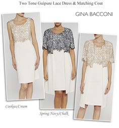 Gina Bacconi dress and matching lace coat navy cream ivory and gold two piece occasion outfits plus size occasionwear