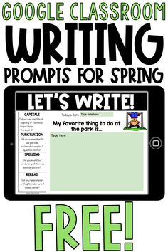 These free Google Classroom spring writing prompts are perfect for your students during distance learning. Ideal for 1st grade, 2nd grade, or 3rd grade classrooms. These digital activities for writing come in a Google Slides format. Students can journal one prompt a day to share. Digital writing prompts include narrative, opinion, and informational writing!