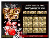 Scratch Off Game $2,500.00 Snake Eyes Surprise