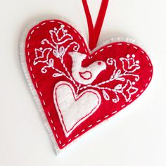 Christmas Ornaments PDF Pattern Embroidered Felt by ericahite