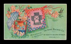 Quilt Square Made on Howe Sewing Machine Colorful 1880s Victorian Trade Card