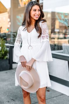 This feminine wonder has exposed lace in all the right places for a modern twist on a spring classic. You can shop this dress at the Mint Julep Boutique! First Date Dress, First Date Outfits, Off White Lace Dress, Off White Dresses, Cowgirl Outfits For Women Dresses, Clothes For Women, Work Clothes, Date Night Dresses, Night Outfits