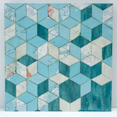 """10"""" X 10"""" X 1.5"""" Necker Cube Map Collage on wood panel"""