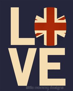 British Flag, I LOVE my BRITISH Roots, Union Jack Flag, 8 x 10 Print. $20.00, via Etsy.