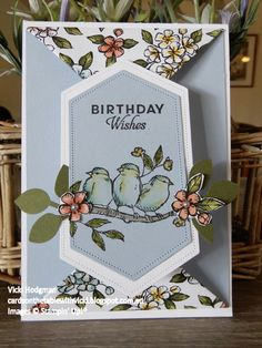 Featuring: Free as a Bird Stamp Set Bird Ballad designer paper Stitched Nested Anime Art Ballad Bird designer Featuring FREE Nested Paper set stamp Stitched 3d Cards, Paper Cards, Fancy Fold Cards, Folded Cards, Tarjetas Stampin Up, Happy Birthday Cards, Happy Birthdays, Card Birthday, Sister Birthday