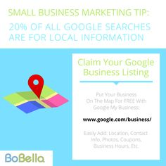 20% of all Google searches are for local Information - Make sure that your small business is represented properly!   #SmallBusinessMarketing #SmallBusiness #marketing