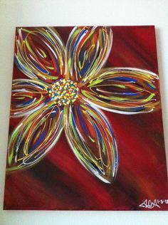 My name is Alexa, and Masterpiece Mixers is one of my favorite places to visit when I get my paint on. This is my own result from taking the Abstract Flower class more than a year ago. It was interesting to see how Debbie taught this painting to a group of 18 versus 4.