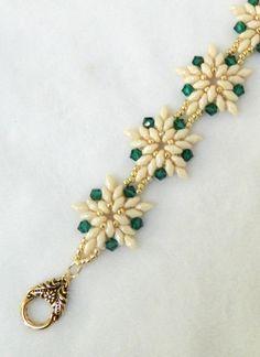 """SALE Handmade Swarovski Beaded bracelet, SuperDuo bracelet, Christmas bracelet, White Poinsettia bracelet - """"SuperDuo Poinsettia Bracelet"""""""