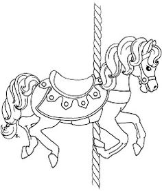 Free Coloring Page Carousel Animals Book Download Crafts For Kids Dover Books