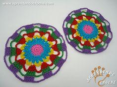 Porta Copos de Crochê Arco-Íris - Decorações em Crochê - Aprendendo Croche