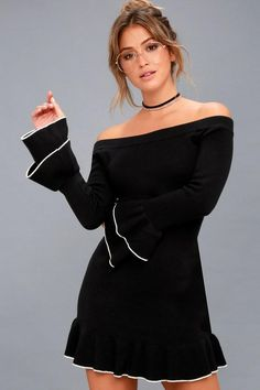 ec03048cd24 #Valentines #AdoreWe #Lulus - #Lulus Finesse Me Black Off-the-Shoulder  Sweater Dress - Lulus - AdoreWe.com