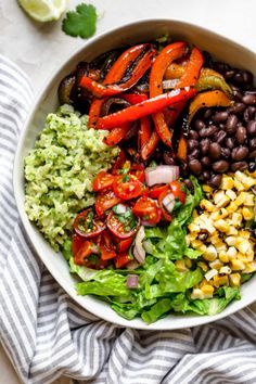 move over chipotle, this plant-based vegetarian and vegan black bean burrito bowl with green rice is loaded with flavor! love to meal prep? my mexican rice bowl recipe is wholesome, plant-based, naturally vegan & gluten-free, & meal prep-friendly! Rice Recipes For Dinner, Veggie Recipes, Mexican Food Recipes, Whole Food Recipes, Cooking Recipes, Healthy Recipes, Chicken Recipes, Veggie Bowl Recipe, Grilling Recipes