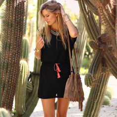 New in! Black dress with some ibiza details - now available via www.my-jewellery.com   #black #dress #beads #duffle #fringe #taupe #bag #summer #ibiza #details #myjewellery