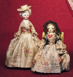 "EARLY CARVED WOODEN ENGLISH ""QUEEN ANNE"" DOLL WITH"