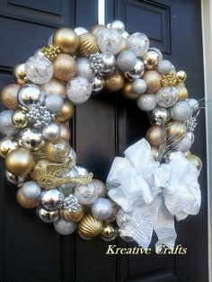 Gold and Silver Classic Christmas Wreath.  18 inches of beauty and class right on your front door.  Happy Holidays!!
