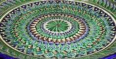 uzbek handmade hand painted pottery large blue serving plate