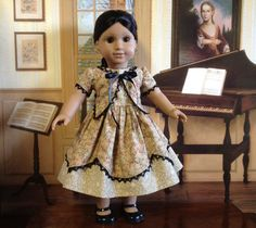 American Girl Flowered 1850s Gown by HeidiMaidDollClothes on Etsy