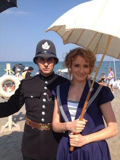 Helene Joy (Julia) and Jonny Harris (George) on the set of Loch Ness Murdoch From Murdoch Mysteries...LOVE IT!