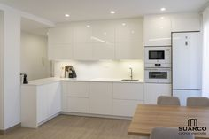 Kitchen Cabinet Remodel, Kitchen Cabinets, Contemporary Office, White Wood, New Kitchen, Interior Architecture, Sweet Home, New Homes, House