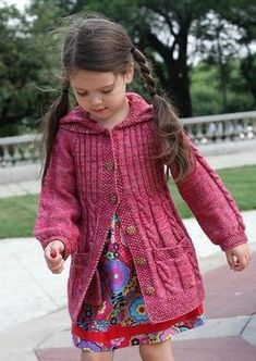 Kids Knitting Patterns, Baby Cardigan Knitting Pattern, Knitting For Kids, Knitting Designs, Free Knitting, Childrens Coats, Kids Coats, Knitting Baby Girl, Crochet Dress Girl