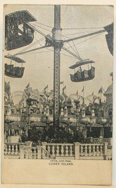 coney island vintage images | Antique Postcard Coney Island Swing Luna by CreeksideVintageHome, $5 ...