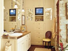 cream bathroom with white drawers
