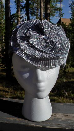 VERY COOL Vintage Silver Cocktail Hat Fascinator Derby Hat- Mr Song Style