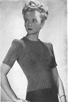 Knitting patttern Vintage 1940s Mujer Puente De Manga Corta a Rayas//Chevron