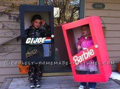 New in the Box G.I. Joe and Barbie Costumes... an creative homemade kids costume idea.