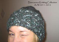 berretto verde in lana melangè