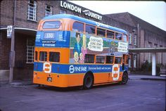 London Country AEC Routemaster 516 CLT, wearing advert livery for Fine Fare supermarkets on the forcourt of St Albans garage Rt Bus, Routemaster, Buses And Trains, Bus Coach, St Albans, London Bus, London Transport, Coaches, Great Britain