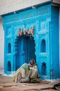 A blue doorway in India.
